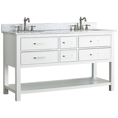 "Avanity Brooks 60"" White Top White Double Sink Vanity"