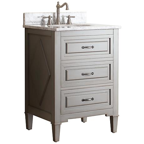 "Avanity Kelly 24"" White Top Grayish Blue Single Sink Vanity"