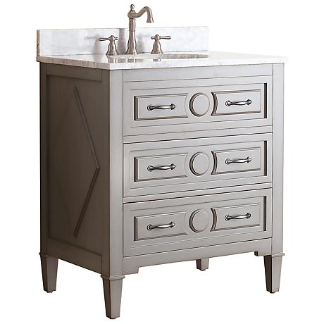"Avanity Kelly 30"" White Top Grayish Blue Single Sink Vanity"