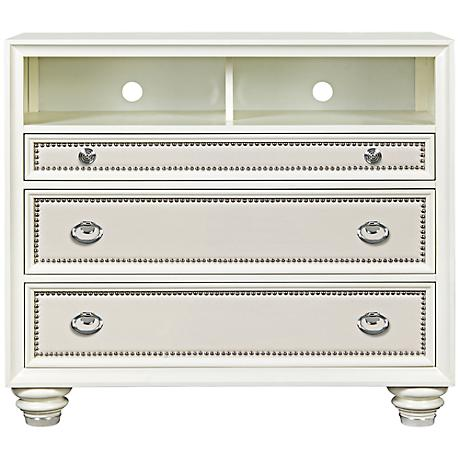 Diamond Glossy Cream Faux Croc Media Chest