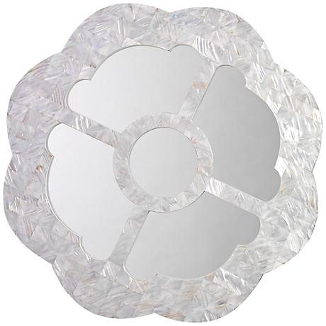 "Jamie Young Cloister Mother of Pearl 30"" Round Wall Mirror"