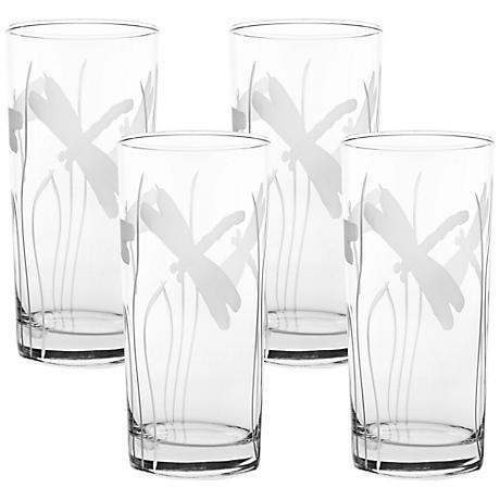 Dragonfly Engraved Cooler Glass Set of 4