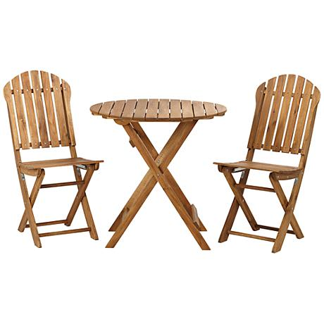 Set of 3 Monterey Round Natural Acacia Wood Table and Chairs