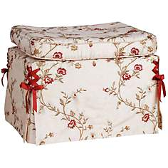 Cornelia Caramel Floral Curved Pillow Top Ottoman