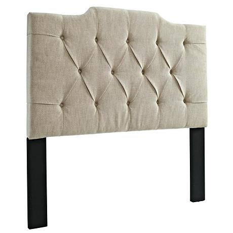 Hallie Tan Linen Tufted King/Cal King Panel Headboard