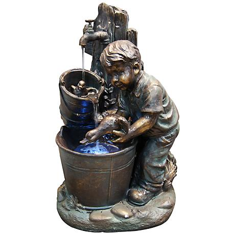 Boy and Duck Bucket LED Indoor - Outdoor Floor Fountain
