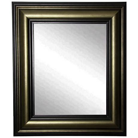 "Glendford Bronze Antiqued Stepped 30"" x 36"" Wall Mirror"