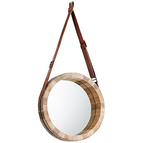 "Canteen Wood 15 3/4"" Round Small Wall Mirror"