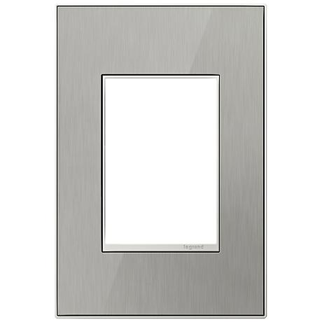 Adorne 1-Gang 3-Module Brushed Steel Wall Plate