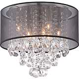 "Bretton Black Shade 16"" Wide Crystal Ceiling Light"