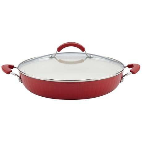 "Farberware Red Aluminum Nonstick 12"" Covered Deep Skillet"