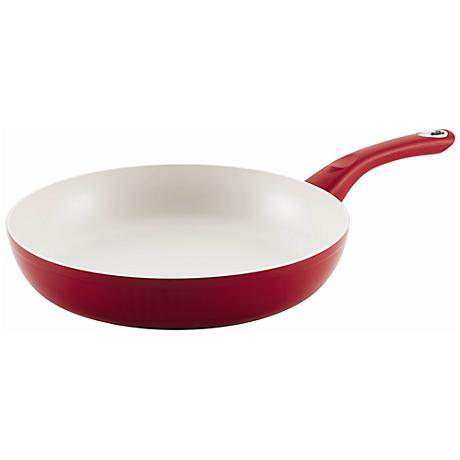 "Farberware Red Nonstick Aluminum 12"" Deep Skillet"