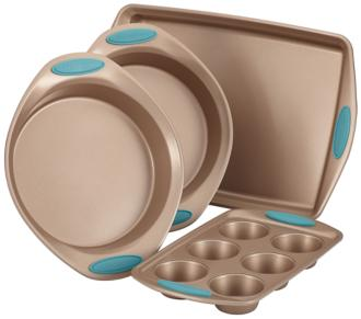 Rachael Ray Brown and Blue 4-Piece Nonstick Bakeware Set (6Y160) 6Y160