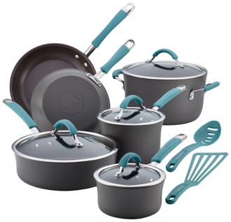 Rachael Ray Gray and Blue Nonstick 12-Piece Cookware Set (6Y164) 6Y164