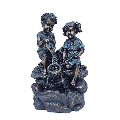 Water Play Bronze Tabletop Fountain