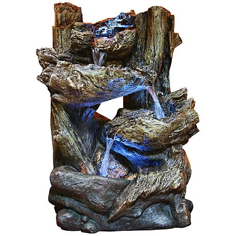 Tiered Log LED Indoor - Outdoor Tabletop Fountain
