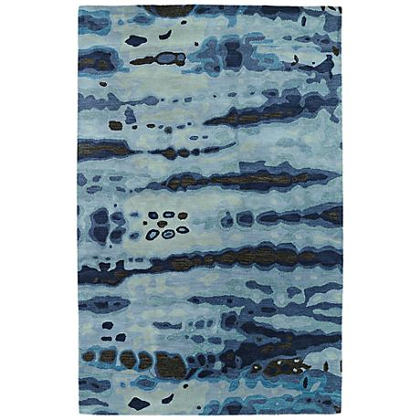 Kaleen Brushstrokes BRS03-17 Navy Blue Wool Area Rug