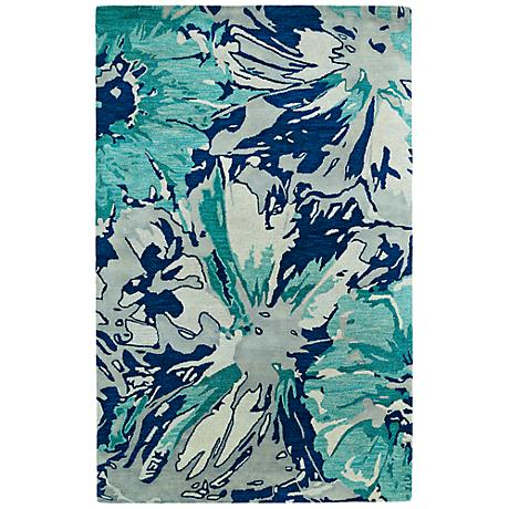 Kaleen Brushstrokes BRS06-17 Blue Wool Area Rug