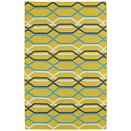 Kaleen Glam GLA01-28 Flatweave Bright Yellow Wool Area Rug