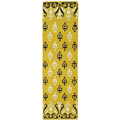 Kaleen Glam GLA04-28 Flatweave Yellow and Black Wool Rug