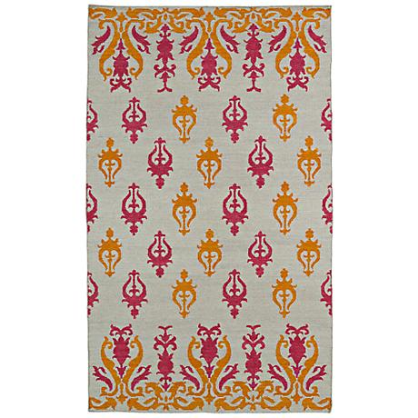 Kaleen Glam GLA04-82 Pink and Orange Flatweave Wool Rug