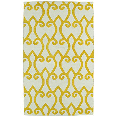 Kaleen Glam GLA05-28 Yellow Flatweave Wool Area Rug