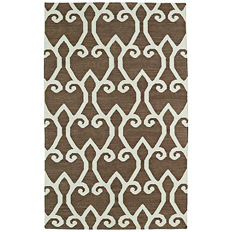 Kaleen Glam GLA05-49 Brown Flatweave Wool Area Rug