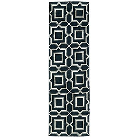 Kaleen Glam GLA06-38 Charcoal Black Squares Wool Area Rug