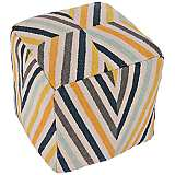 Jaipur En Casa by Luli Sanchez Yellow Stripe Pouf Ottoman