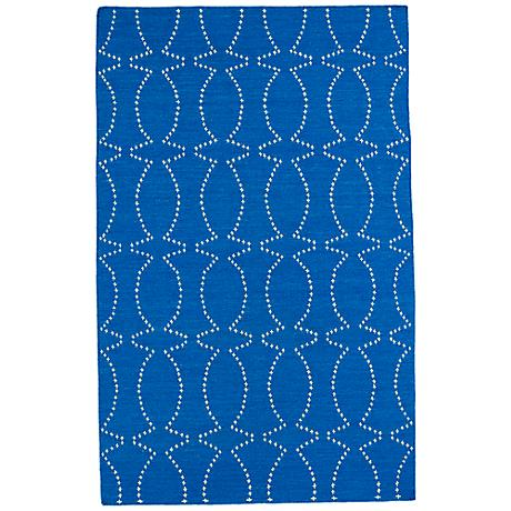 Kaleen Glam GLA07-17 Bright Blue Flatweave Wool Area Rug