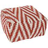 Jaipur Cadiz Red Diamond Ikat Square Pouf Ottoman
