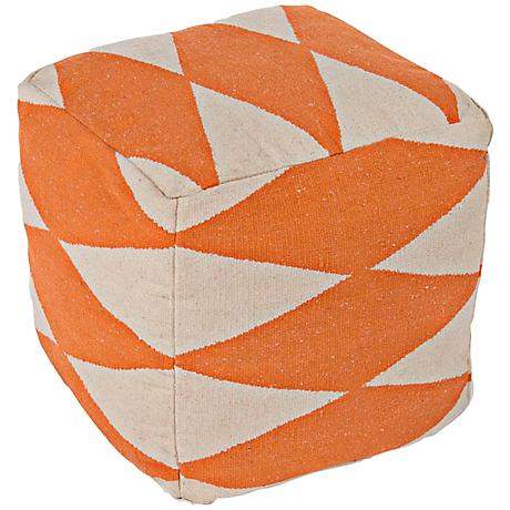 Jaipur En Casa Orange Diamond Cube Pouf Ottoman