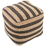 Jaipur Mason Black Striped Wool Cube Pouf Ottoman
