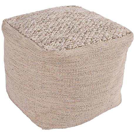 jaipur scandinavia taupe wool cube pouf ottoman 6y684. Black Bedroom Furniture Sets. Home Design Ideas