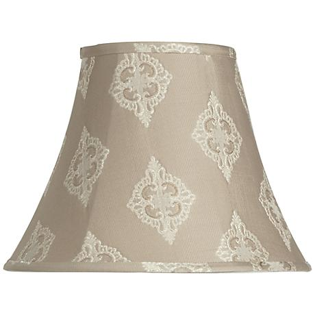 Tan Flower Medallion Bell Lamp Shade 7x14x11 (Spider)