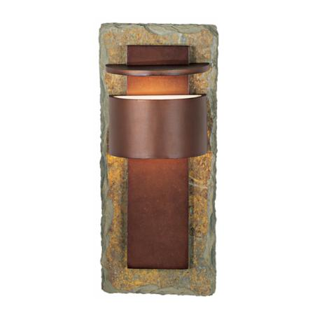 "Kembra Slate Copper 15"" High Outdoor Wall Sconce"