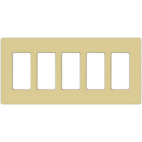 Lutron Claro Ivory 5 Gang Screwless Faceplate