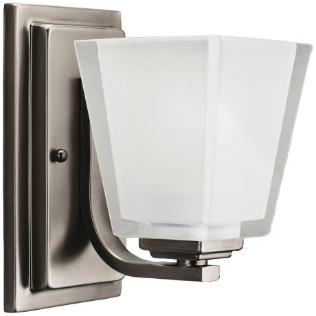 "Angled Metro Kool Pewter 8"" High Wide Bath Light Fixture"