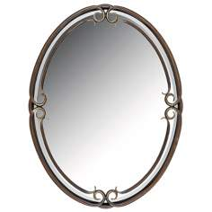 "Quoizel Large Oval Duchess 40"" High Wall Mirror"