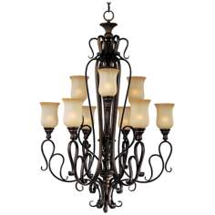 "Sausalito Filbert Finish 34"" Wide 9-Light Large Chandelier"