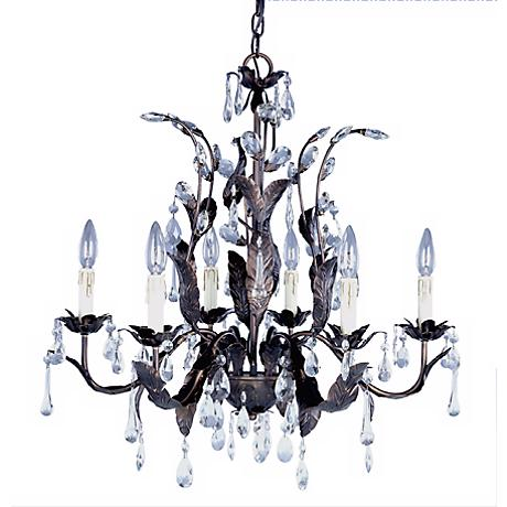 Grove Collection Six Light Crystal Leaf Chandelier