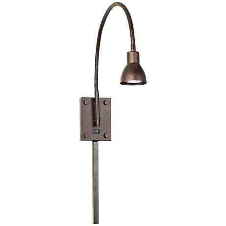 led bronze gooseneck plug in swing arm wall lamp. Black Bedroom Furniture Sets. Home Design Ideas