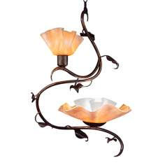 Jezebel 2-Light Amber Magnolia Swag Chandelier