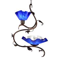 Jezebel 2-Light Cobalt Blue Magnolia Swag Chandelier