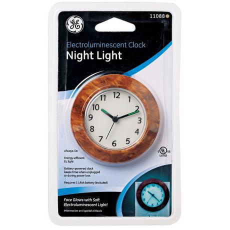 "Electroluminescent 2"" Wide Clock Night Light"