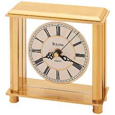 "Cheryl Polished Brass 5 3/4"" High Bulova Mantle Clock"