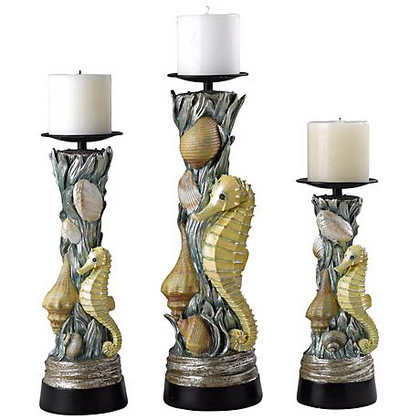 Set of Three Sealife Candle Holders
