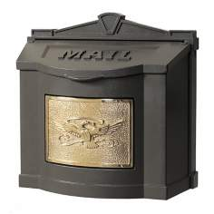 Metallic Bronze With Polished Brass Wall Mount Mailbox
