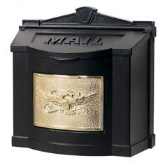Black With Polished Brass Wall Mount Mailbox