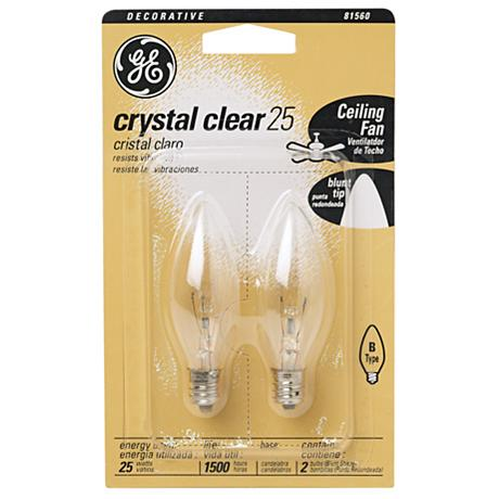 Ge 2 Pack 25 Watt Blunt Tip Light Bulbs